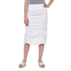 XCVI XL White Ruched Drawstring Peasant Skirt